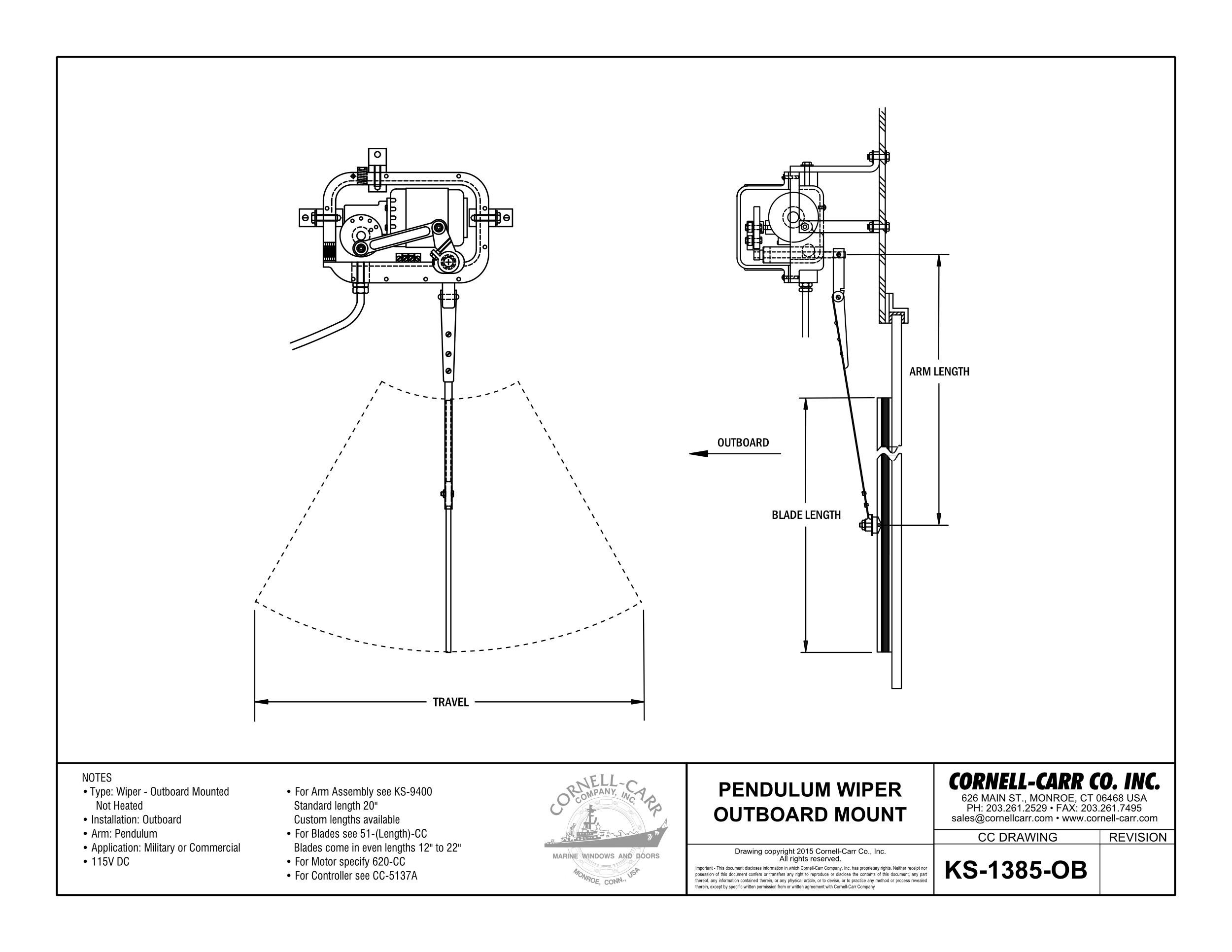 KS-1385OB Commercial Outboard Wiper, Pendulum Arm